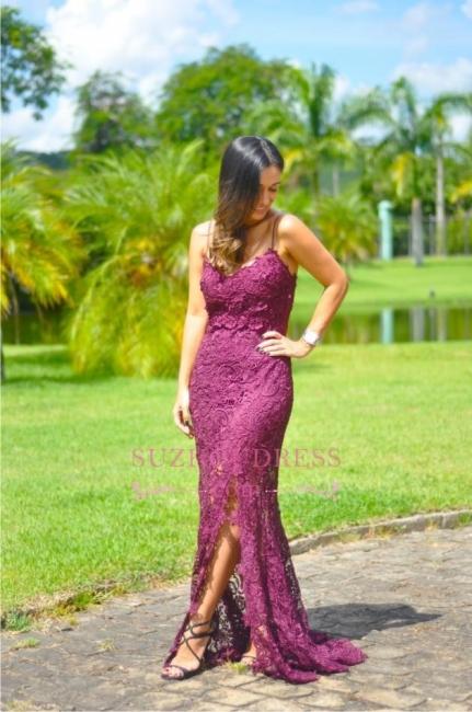 Split Full-Lace Spaghetti-Straps Elegant Long Sleeveless Prom Dress
