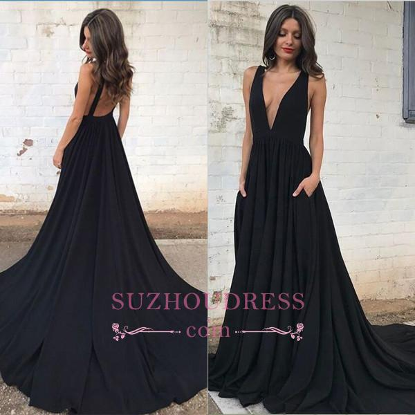 Black Backless  Formal Dresses  Sleeveless V-neck Straps A-line Sexy Prom Dress SP0342