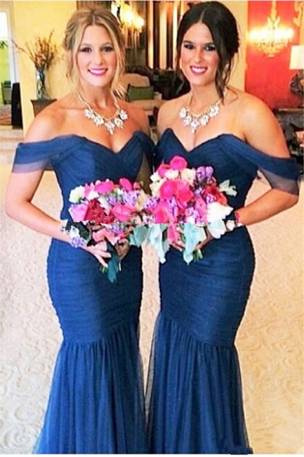 Royal Blue Tulle Off-the-shoulder Cheap Bridesmaid Dress with Fishtail Sexy Maid Of Honor Dresses