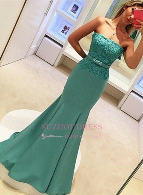 Delicate Lace Strapless Evening Dress  with Bow Sleeveless Mermaid Prom Dress