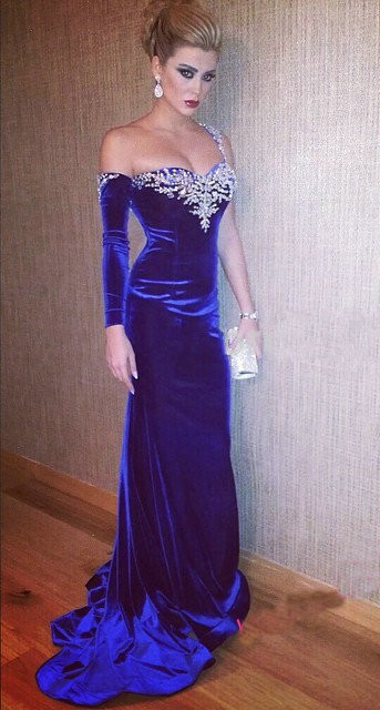 Blue Velvet Sexy Evening Dress with One Sleeve Open Back  Plus Size Formal Dresses