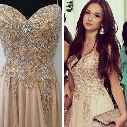 Spaghetti Strap Champagne Prom Dresses with Beading Chiffon Split Side Party Dresses BO9988