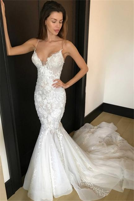 Elegant Mermaid Spaghetti Straps Wedding Dresses   Sexy Appliques Bridal Gowns