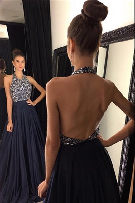 New Arrival Halter Crystal  Evening Gown A-Line Backless Prom Dress GA043
