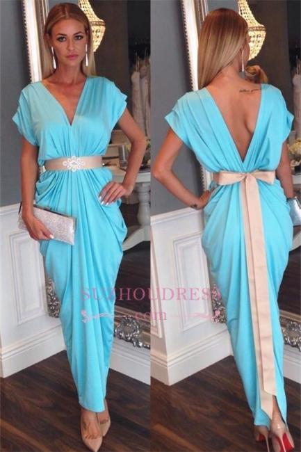 Short Sleeves Beaded Bowknot Belt Party Dress Blue Ruffles V-neck Open Back Evening Dress JJ0021