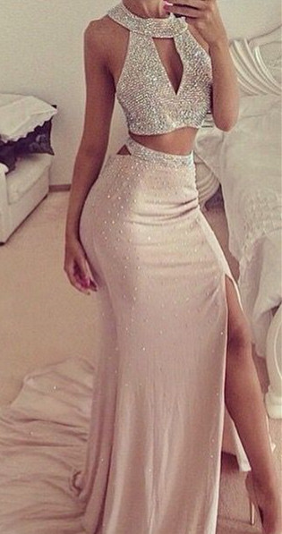 Sexy Halter Two Pieces Long Evening Dresses Side Slit Mermaid Sweep Train Dresses with Beadings CJ0293