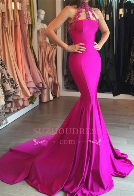 Sleeveless High Neck Evening Gown  Mermaid Sweep-Train Lace-appliques Modest Prom Dress BA6354