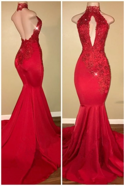 Halter Backless Sexy Prom Dresses with Lace Appliques Mermaid Sleeveless  Evening Gown BA7768