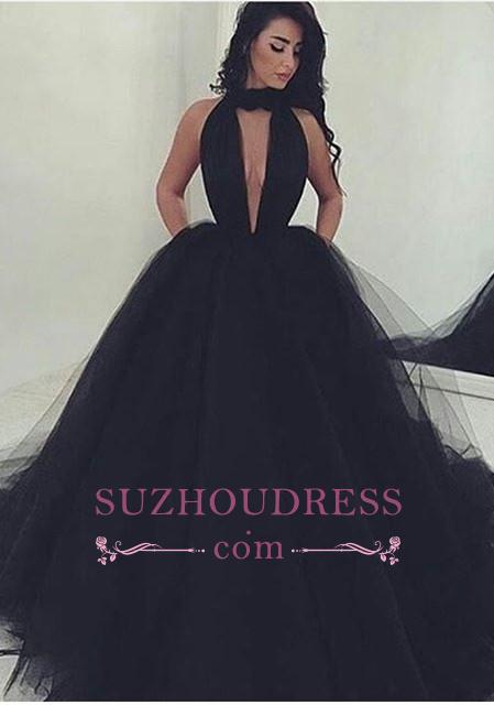 Gorgeous High Neck Keyhole Prom Dresses  Black Puffy Tulle Popular Evening Dress BA4184