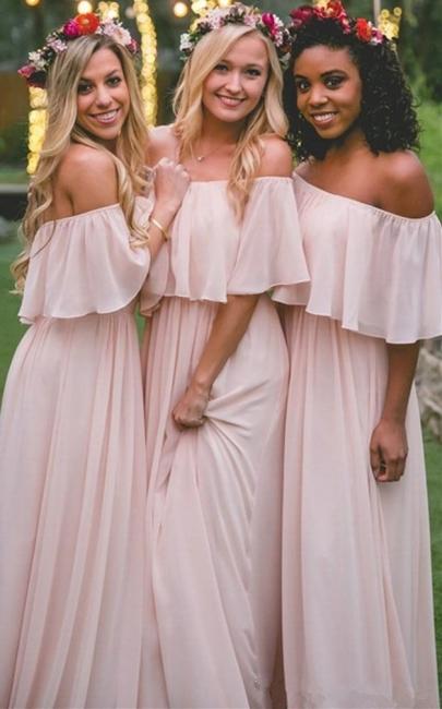 Baby Pink Off The Shoulder Bridesmaid Dresses  | Chiffon Sexy Bridesmaid Dress