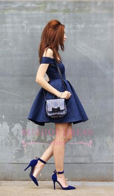 Short A-line Dark-Navy Off-the-shoulder Modest Homecoming Dress
