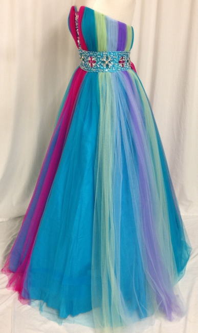 Rainbow Sweetheart Tulle Ball Gown Prom Dress with Beadings Colorful Floor Length Lace-Up Evening Dresses