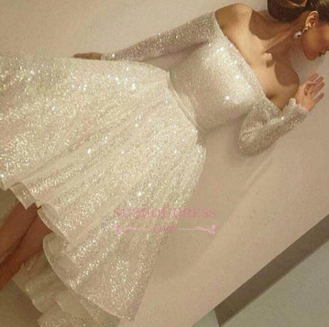 Bling Bling Off-the-shoulder Long Sleeves Evening Gowns  Short Prom Dresses BA3706