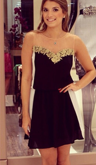 Latest Chiffon Short Summer Dress with Lace Sleeveless Open Back Mini Homecoming Gowns