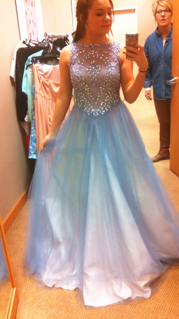 Sheer Blue Lovely Tulle  Prom Dresses Crystal Popular Cute Long Party Dresses