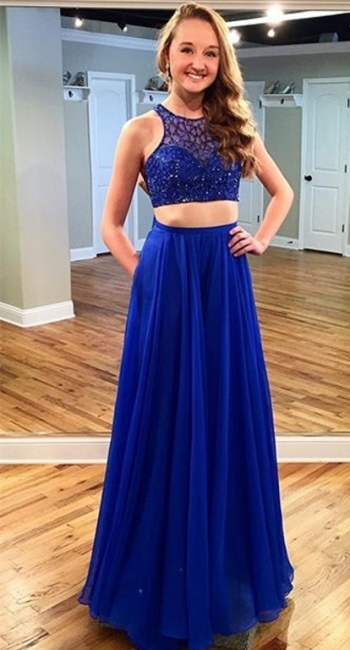 Two Piece Royal Blue Beading Evening Dresses Sleeveless  Prom Dress with Pocket
