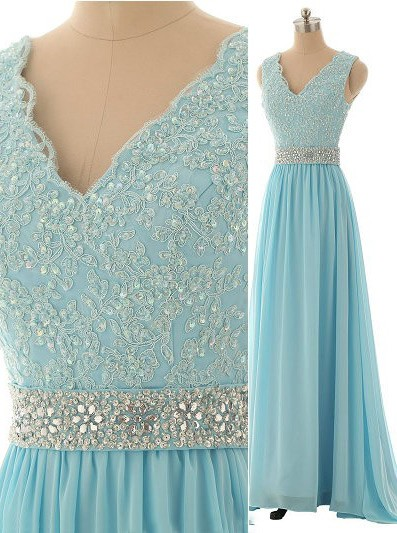 Elegant V-Neck Beading Long Prom Dress A-Line Crystal Chiffon Evening Gown