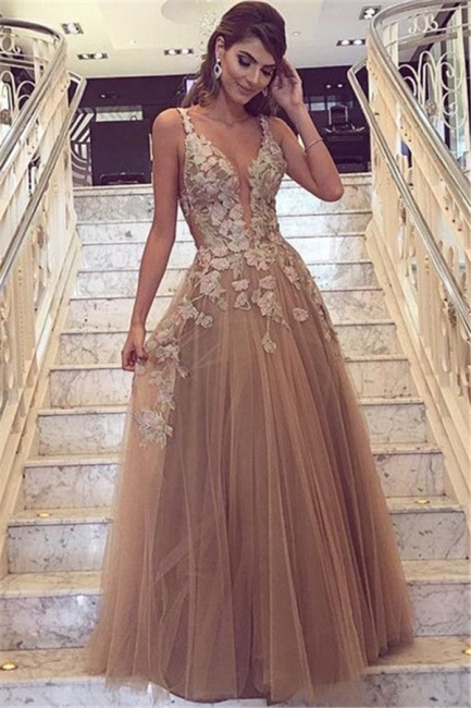Sexy Lace Appliques  Prom Dresses  | Sleeveless Long Evening Party Dress FB0396