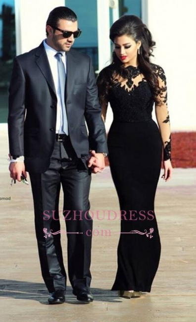 Lace High Collar long Sleeve Evening Dress Elegant Long Black  Prom Dress