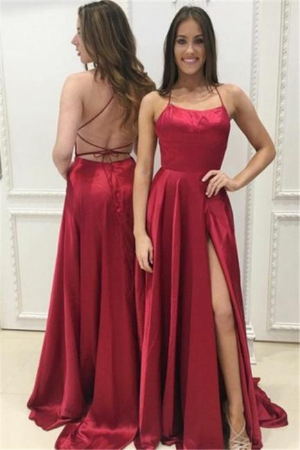 Red A-Line Halter Evening Dresses    Open Back Side Slit Formal Dresses BA8048
