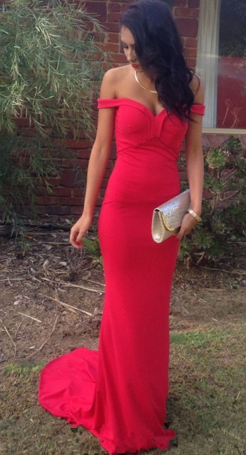 Red Off Shoulder Sexy Long Formal Occasion Dress Sheath Popular Sweep Train  Evening Dress