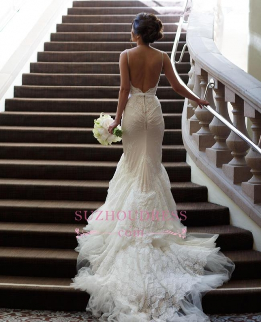 Elegant Backless Tulle Spaghetti-Strap Mermaid Sweep-Train Wedding Dresses