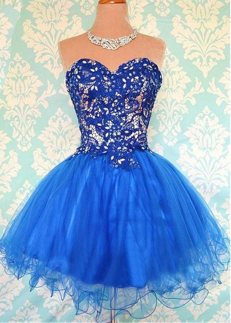 Cute Sweetheart Royal Blue Short Homecoming Dress Crystal Organza Lace Mini Cocktail Dresses