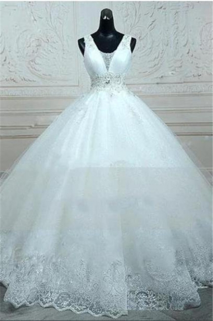 Straps Sleevelss Lace Beading Wedding Dresses  Ball Gown Lace-up Open Back Bridal Dress