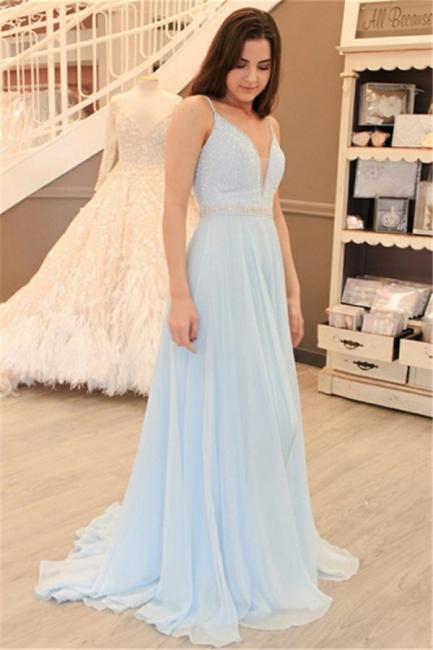 Light Blue A-line Straps Evening Dresses | Beaded V-Neck Open Back Prom Dresses