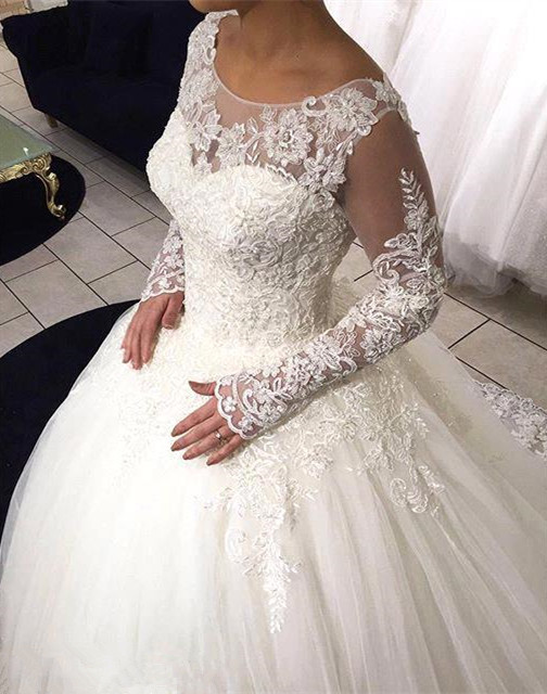 Long Sleeve Lace Ball Gown Wedding Dress Tulle Sweep Train  Bridal Gowns