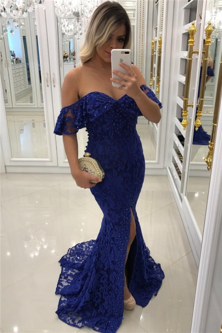 Royal Blue Lace Mermaid Prom Dresses Beads Sequins Off The Shoulder Front Split Evening Gown