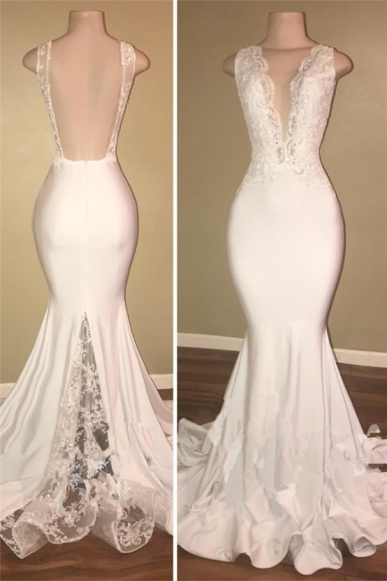 Real Deep V-neck Sexy Backless Prom Dresses Lace Mermaid  New Arrival Evening Dress