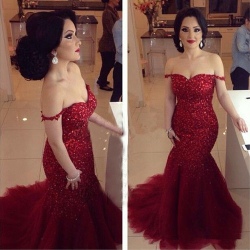 Red Off the Shoulder Mermaid Evening Dresses Latest Sequined Tulle Formal Occasion Gowns