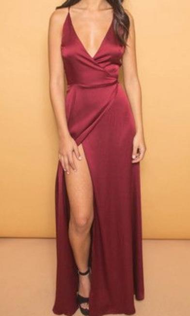 Burgundy V-Neck  Evening Dresses Spaghetti Straps Popular Long Prom Dresses with Side Slit