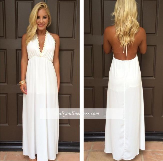 Halter Summer White V-Neck Evening Gowns Backless Maxi Dresses
