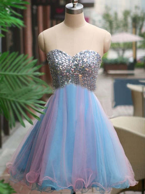 A-Line Crystal Sweetheart  Homecoming Dresses Latest Sleeveless Mini Cocktail Gowns