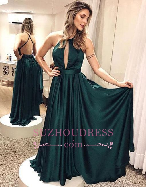 Elegant Simple Backless Dark-green Cross-criss Formal Dress