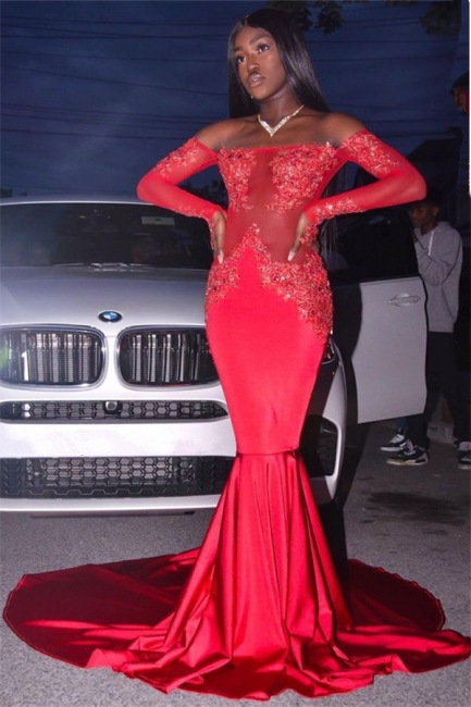 Off The Shoulder Red Sexy Prom Dresses | Long Sleeve Mermaid Lace Evening Dress with Long Train FB0327