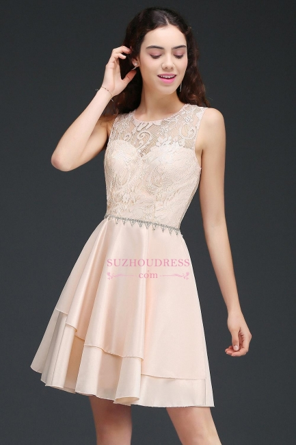 Lace Beading Sleeveless Tiers A-line Elegant Homecoming Dresses