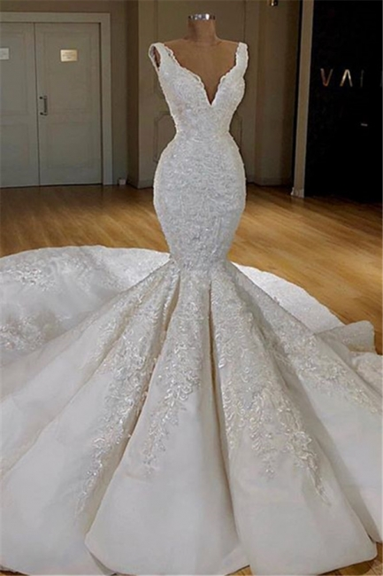 Gorgeous Straps Wedding Dresses with Long Train Mermaid Lace Bridal Gowns Online
