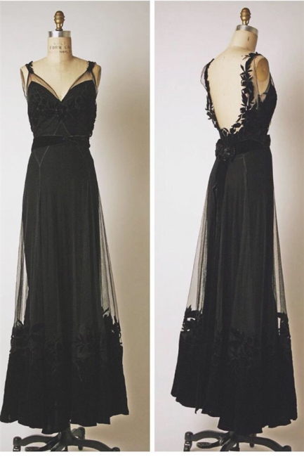 Black V-Neck Applique Cute Prom Dresses Floor Length Backless Sexy Long Sheer Evening Gowns