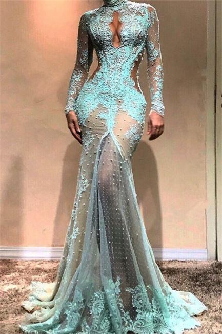 Glamorous Mermaid Long Sleeves Evening Dresses |  High Neck Sheer Appliques Prom Dresses