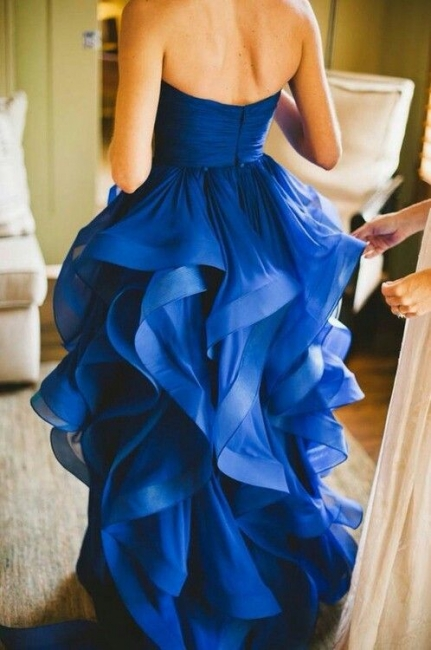 Sweetheart Royal Blue  Wedding Dress Organza Puffy Hot Sale Brideal Dress for Beach Wedding