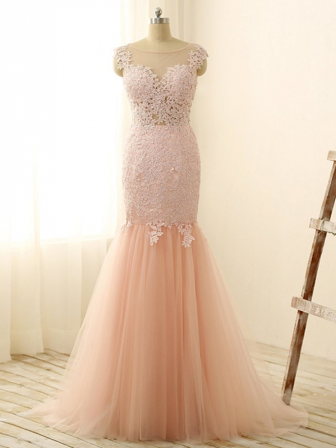 Gorgeous Pink Sexy Mermaid Prom Dresses Tulle Lace Applique Long Party Gowns