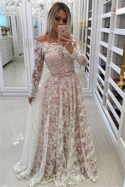 Lace A-line Long Sleeves Evening Gowns Off-the-Shoulder Prom Dresses with Buttons