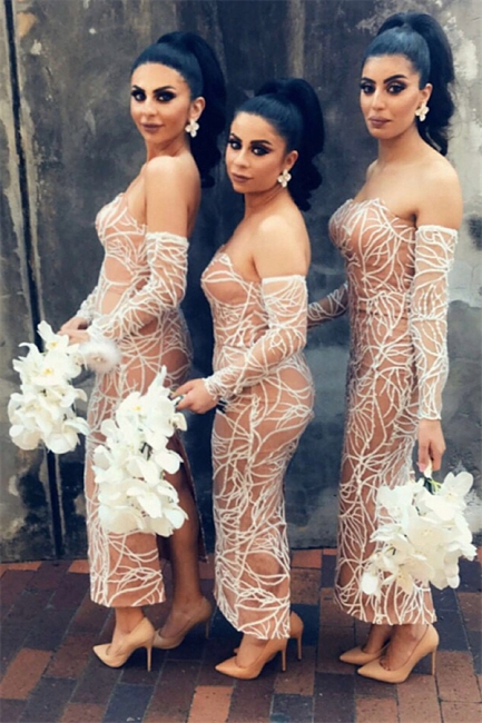 Nude Lining Sexy Bridesmaid Dresses  | Long Sleeve Back Slit Strapless Wedding Party Dresses