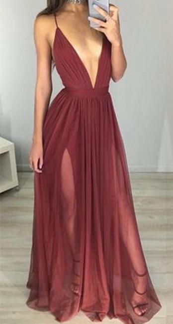 Sexy Long Backless Formal Ball Dresses Straps Split V-neck Deep Evening Gowns BA3629