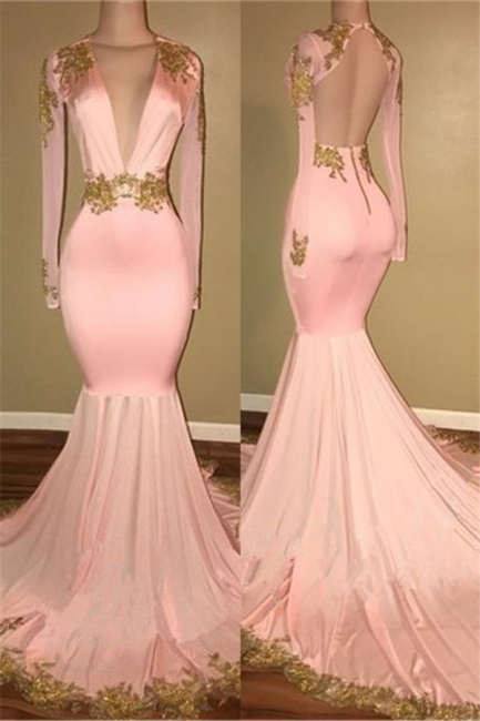 Sexy Deep V-neck Gold Beads Appliques Prom Dress  Mermaid Long Sleeve Backless Evening Gown BA7606