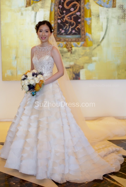 Chiffon Neck Bridal Dresses Crystal Beading Tiered Sleeveless Ruched Chapel Train Ball Gown Wedding Gowns