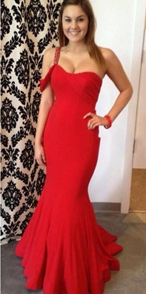 Sexy Mermaid One Shoulder Party Dresses Crystal Red Open Back Evening Gowns